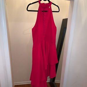 Hot pink asymmetrical hemmed sleeveless dress